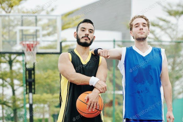 Sweaty basketball players