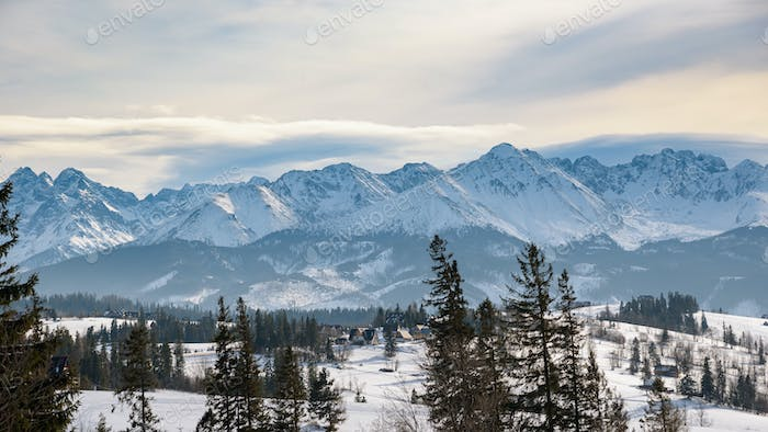 Panoramic winter landscape of High Tatra Mountains