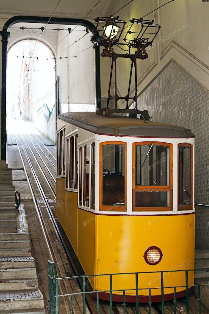 Yellow funicular in Lisbon. Portugal.