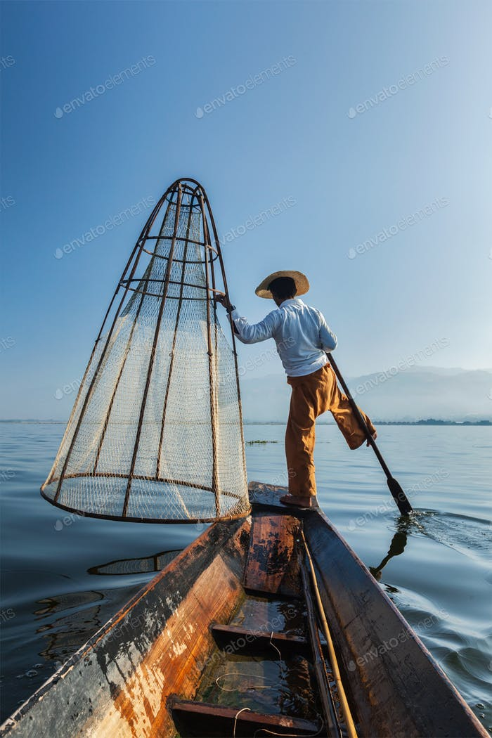 Traditional Burmese fisherman at lake, Myanmar
