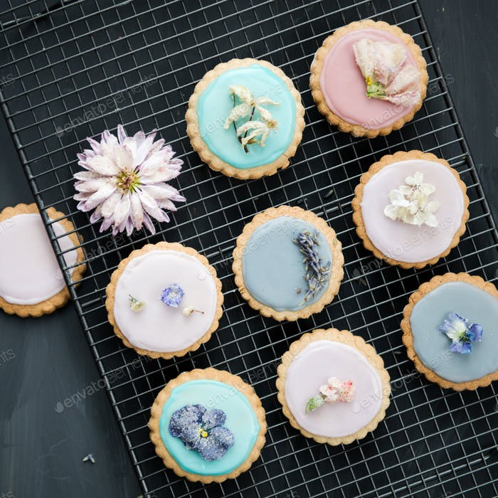 Homemade Biscuits covered with Pastel Color Icing