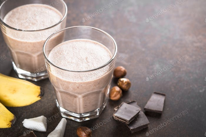 Chocolate banana coconut hazelnut milkshake or smoothie