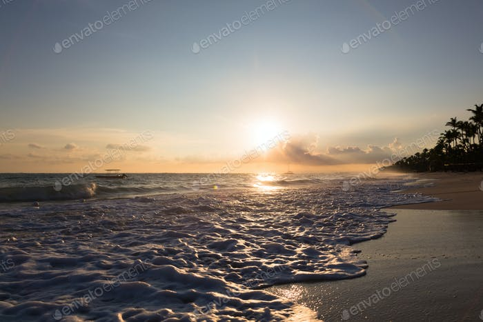 Sunrise over Atlantic ocean waves, Bavaro Beach, Dominican Republic