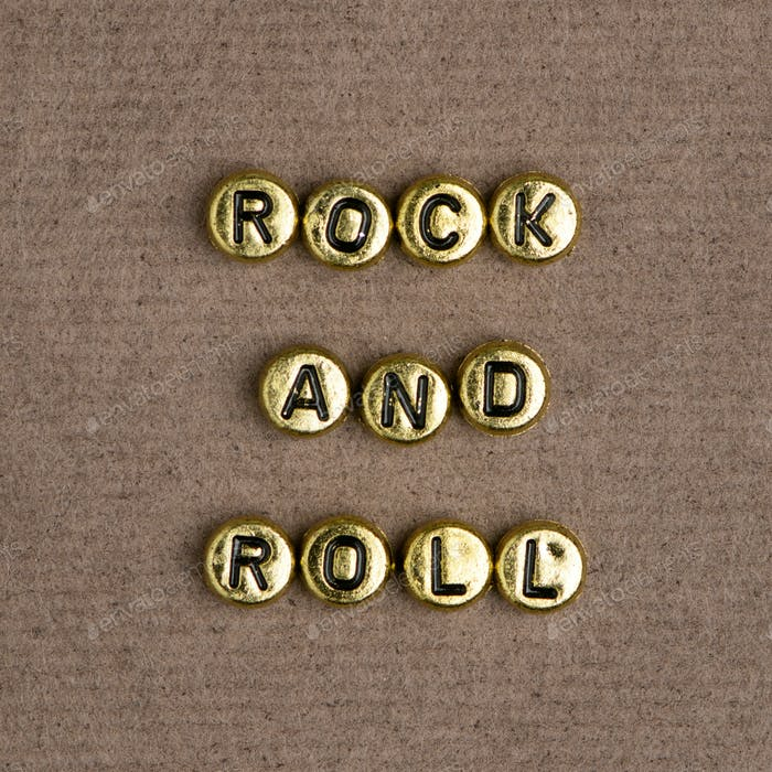 Gold ROCK AND ROLL beads word typography