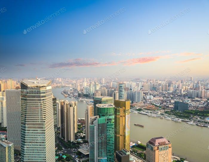 moderne Bürogebäude Luftaufnahme von Shanghai