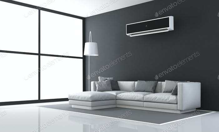Minimalistisches schwarz-weißes Wohnzimmer