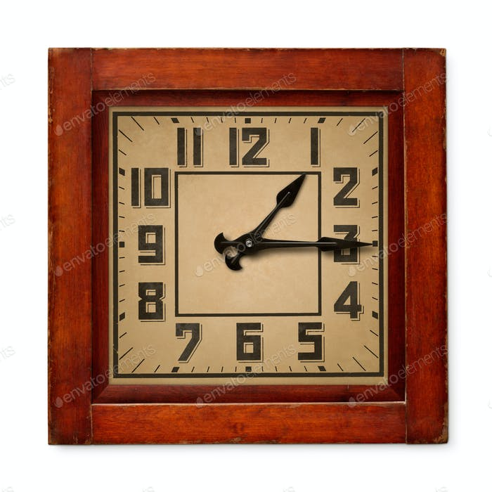 Square wooden wall clock