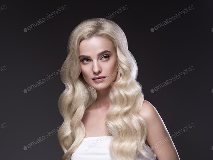 Beautiful hair blonde  woman healthy skin fashion make up natural hairstyle