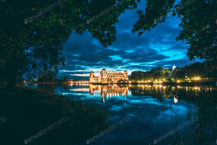 Mir, Belarus. Night Scenic View Of Mir Castle In Evening Illumin