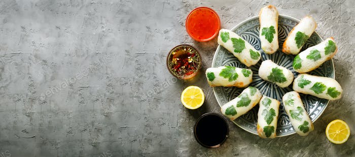 Fresh Vietnamese, Asian, Chinese food frame on grey concrete background. Spring rolls rice paper