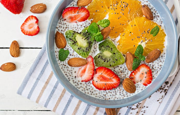 Vegan almond milk chia seeds pudding with strawberries, orange and  kiwi.