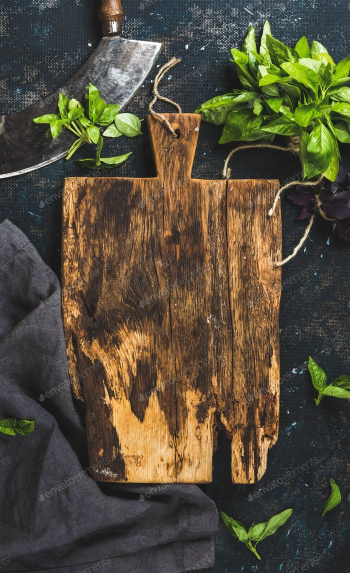 Fresh green basil leaves with herb chopper knife, copy spce