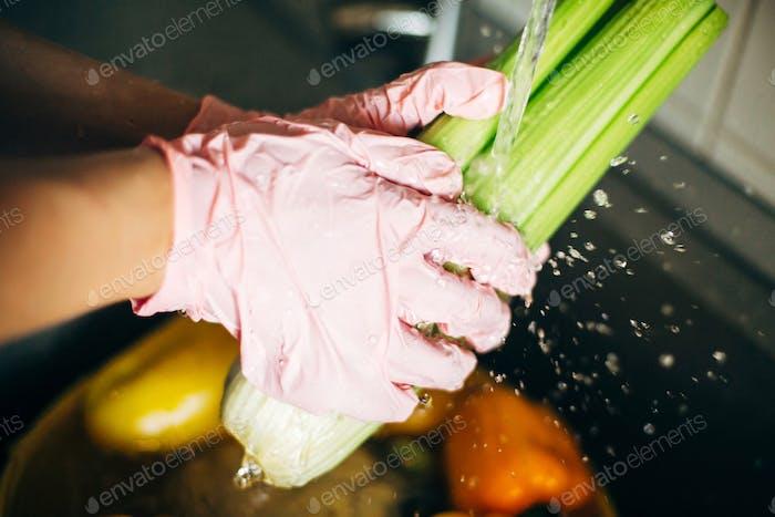 Hands in pink gloves washing celery in splashing water