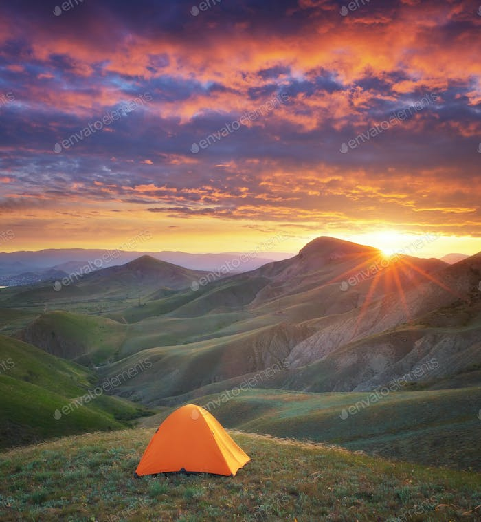 Tent in mountain.