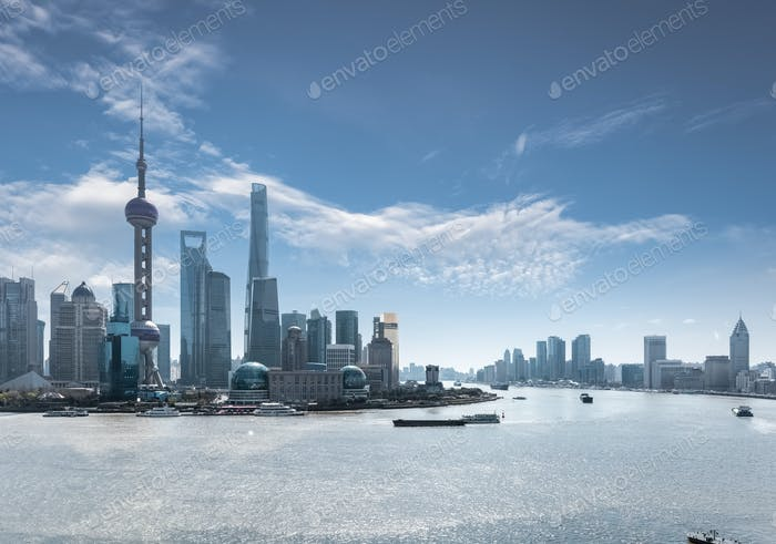 shanghai skyline in daytime