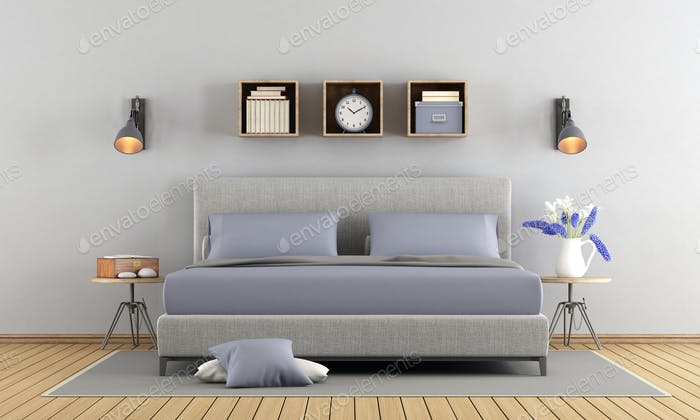 Gray and lilac master bedroom