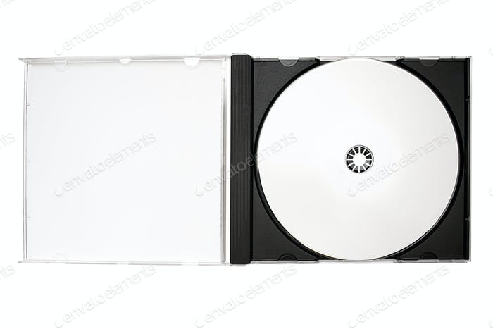 Open Disc Case with Clipping Path Isolated on a White Background