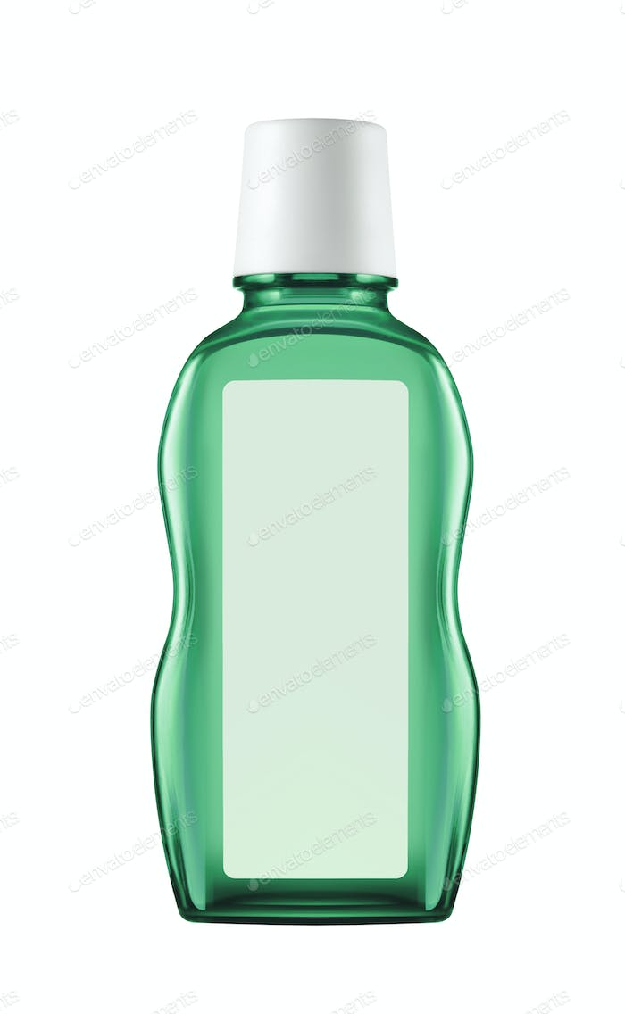 Green shampoo bottle isolated