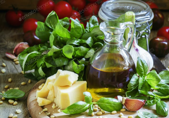 Italian spices, herbs, cheese and olive oil