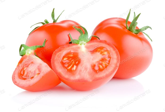 Two Fresh Juicy tomato cut in half Isolated on white background