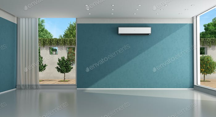 Empty blue home interior with air conditioner