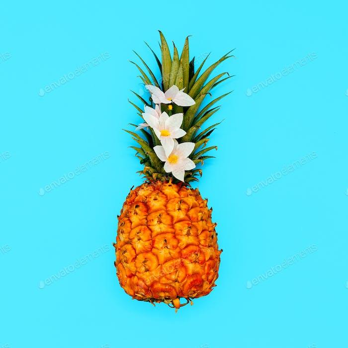 Tropical beach mood. Minimal style Pineapple art