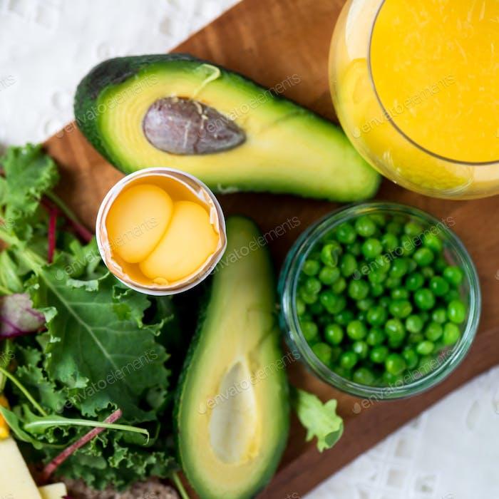 Zutaten für gesundes Frühstück