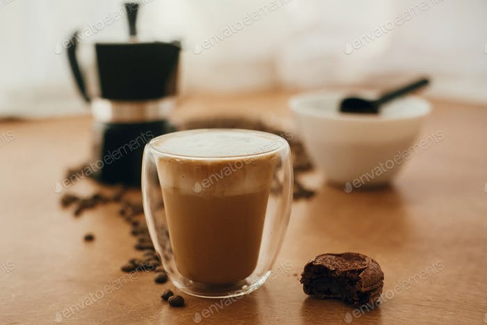 Making latte or cappuccino