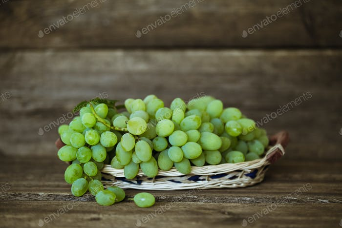 Close up view of ripe green grapes. Background of ripe grapes