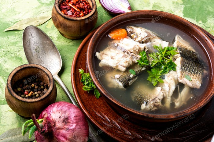 Fish soup in plate