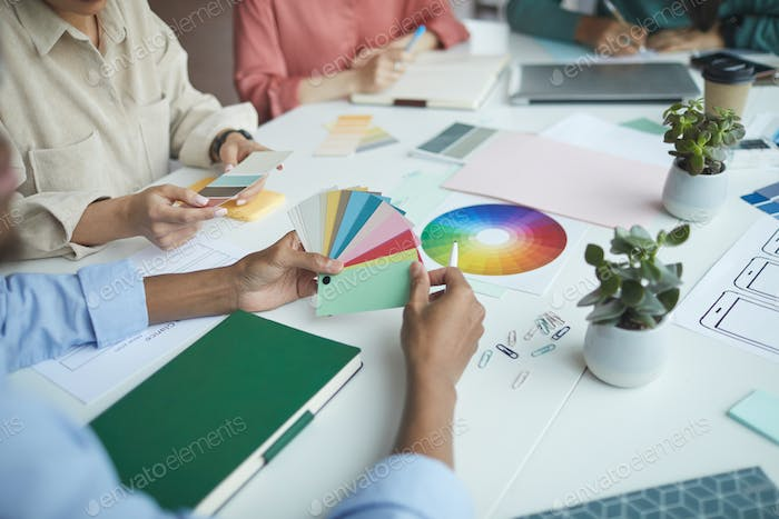 Designers examining colored palette