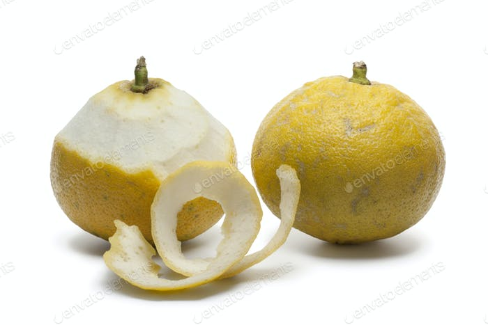 Bergamot oranges with a peeled skin