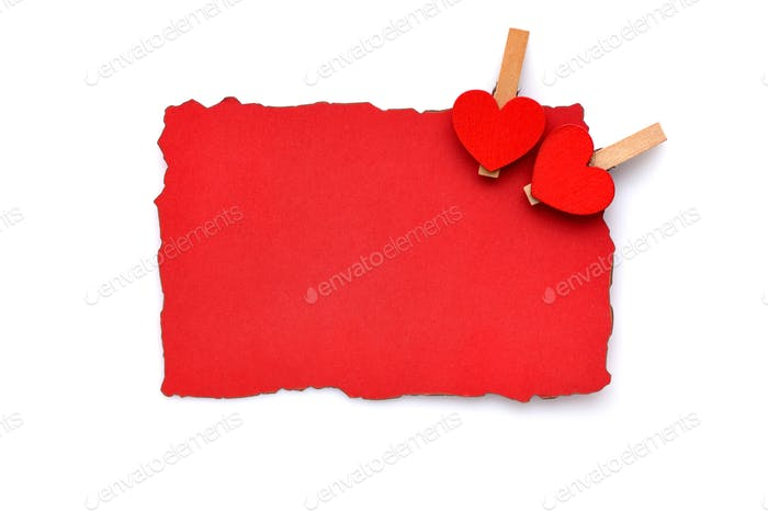 Empty red card with hearts for your greetings for a Valentine's