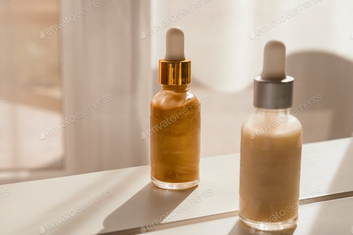 Spa natural cosmetics in glass bottles