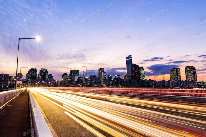 Seoul city with car light