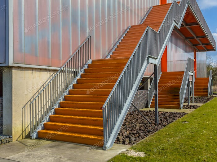 Orange emergency exit stairs