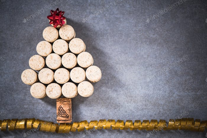 Christmas tree for wine lover, natural wine cork