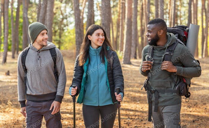 Multiracial group of hikers walking by forest