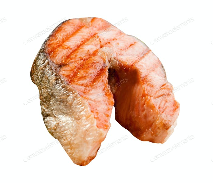 Appetizing salmon steak