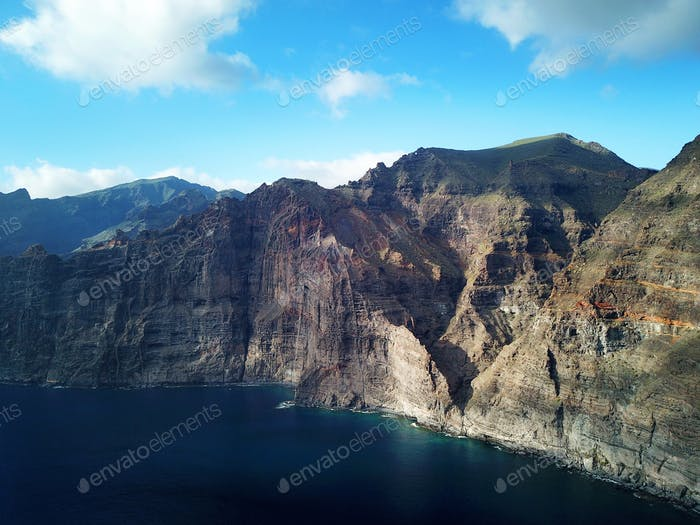 Los Gigantes Cliffs on Tenerife, Aerial View