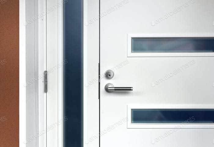 Modern white front door with handle