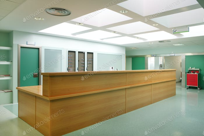 Hospital urgencies hallway indoor reception desk. Health center interior. Medicine