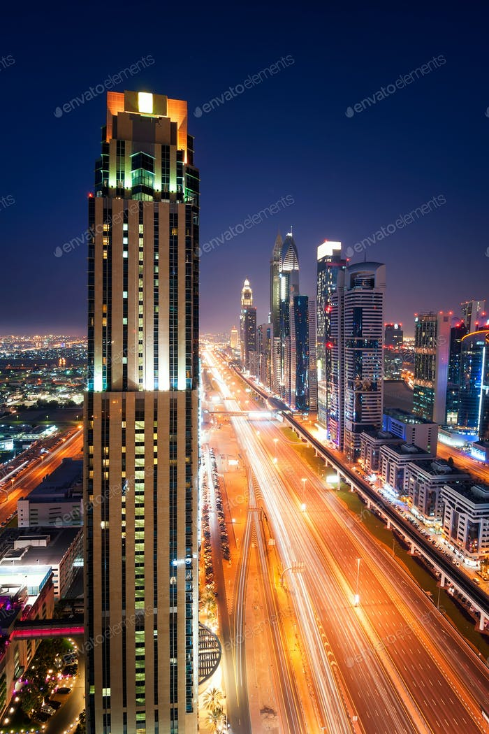 Night dubai traffic jam during rush hour. Sheikh Zayed road, Dubai, United Arab Emirates
