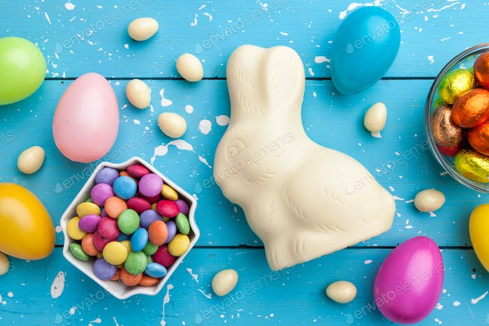 Traditional white chocolate Easter holiday bunny,