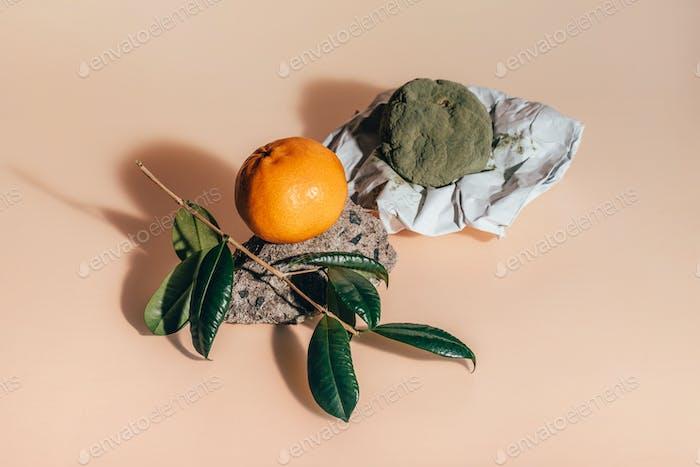 Fresh and rotten mandarins