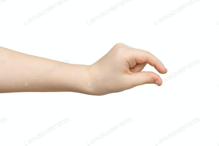 Kid hand measuring something, cutout, gesture