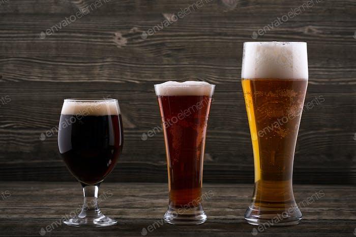 Drei Biersorten