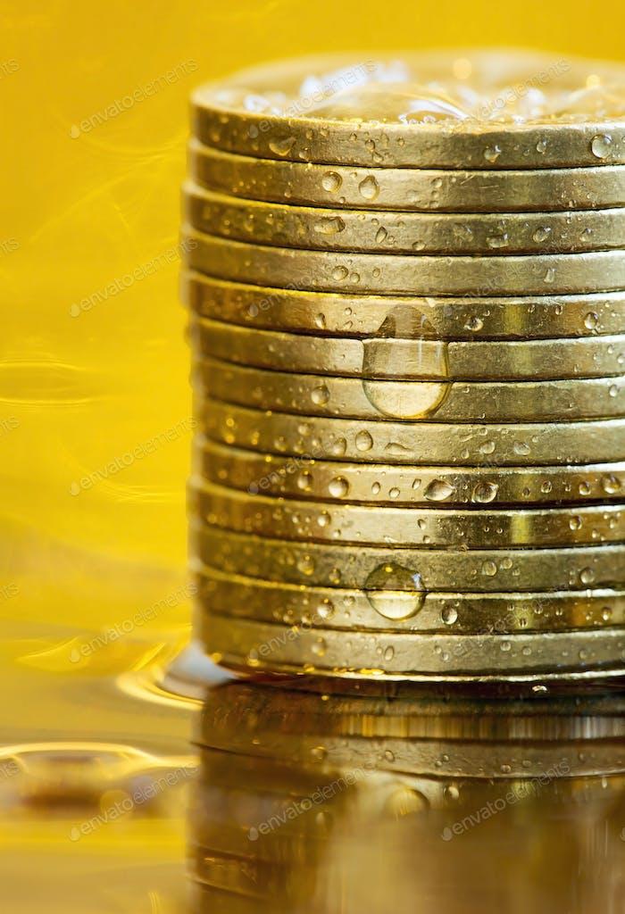 Geschäftserfolg Geldmünzen