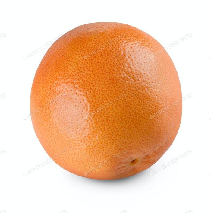 One fresh orange citrus fruit closeup isolated on white background