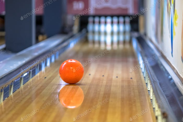 Bowling ball on alley